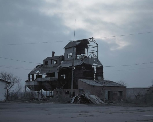 Destroyed granary. It used to be an observation point for separatists during the fights in Sloviansk, 2016, Ukraine.