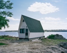 A shed along the Illinois bank of the Mississippi River across from Keokuk, Iowa.