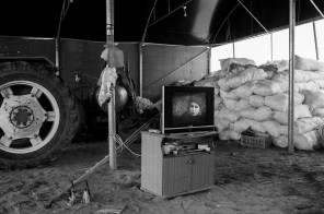 A TV set in a resting area on a farm in Khan Younis, southern Gaza, on Nov. 2nd 2014.