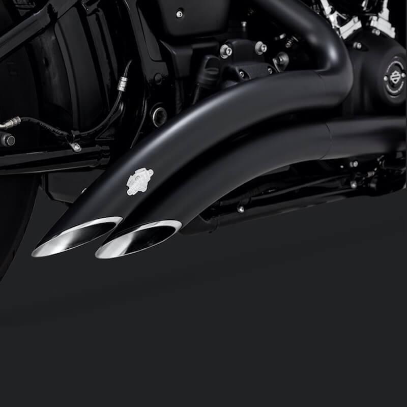vance hines big radius black exhaust harley softail 2018 2021