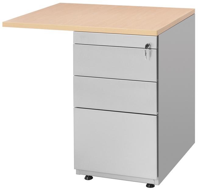 retour sur caisson hauteur bureau 80x60cm avec caisson 3 tiroirs