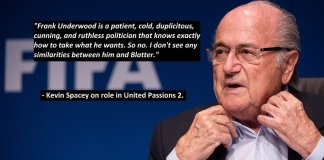 Kevin Spacey on paying Blatter in United Passions sequel