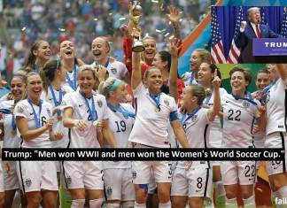 """Donald Trump on U.S. Women's National Team: """"It's great revenge for Pearl harbour but those women should really thank the men."""""""