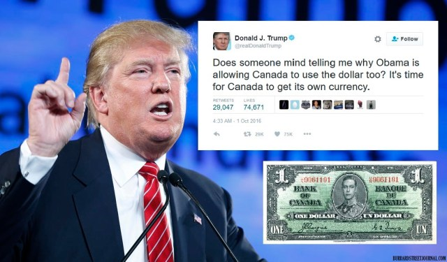 Deleted Trump Canadian Dollar tweet after Donald speaks to Fox News | Trump Ask Jeeves