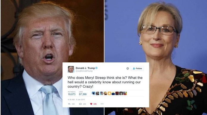 Trump Warns Meryl Streep That Celebrities Have 'No Place In Politics'
