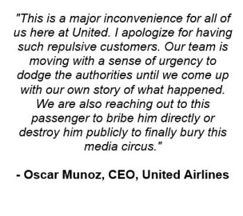United CEO, Oscar Munoz releases updated statement: