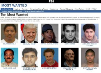 Image Of Trump Briefly Appears On FBI Most Wanted List   Trump FBI Most Wanted