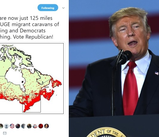 Trump Warns Of Canadian Migrant Caravans After Learning 90% Of Canadians Now Just 200km From US Border