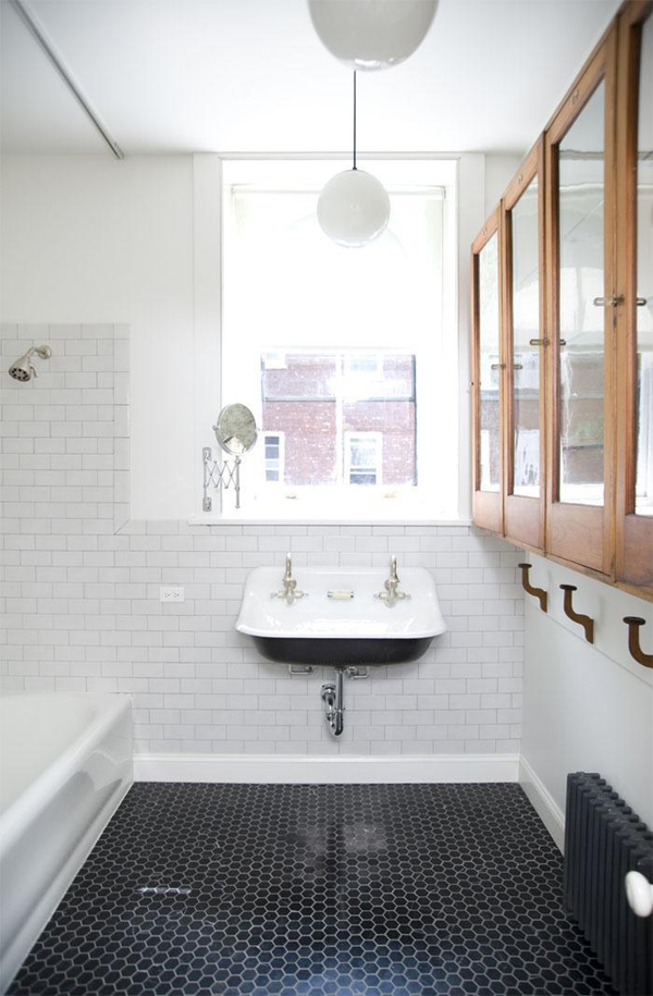 inspiration for a vintage-modern bathroom, via BurritosandBubbly.com