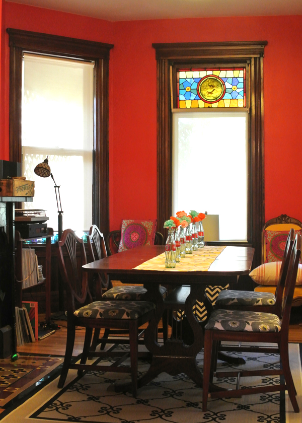 before: the red dining room | Burritos & Bubbly