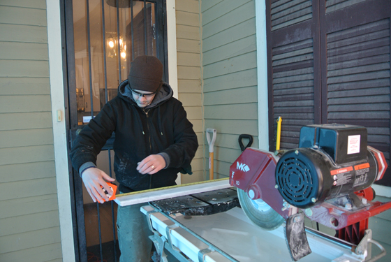 using the wet saw