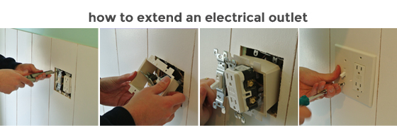 how to extend an electrical outlet to fit over wainscoting, from BurritosandBubbly.com