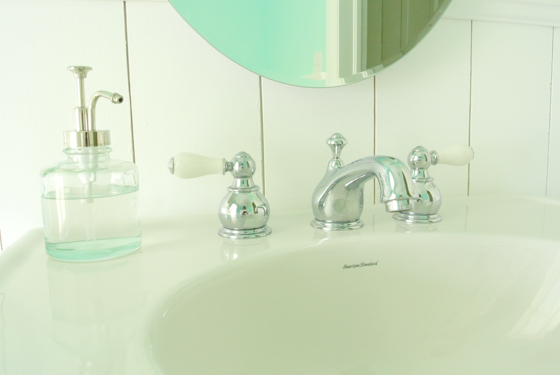 sink details in an urban cottage bathroom, from Burritos & Bubbly