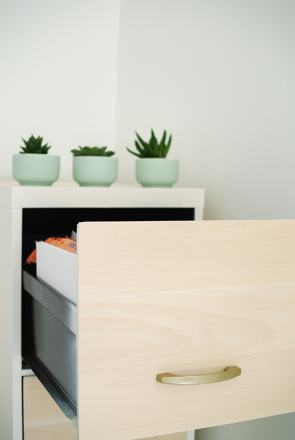 DIY white and wood filing cabinet makeover!