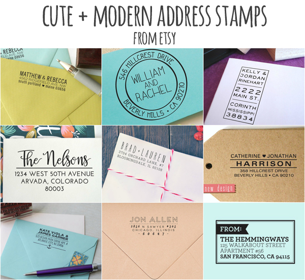 cute and modern address stamps from Etsy!