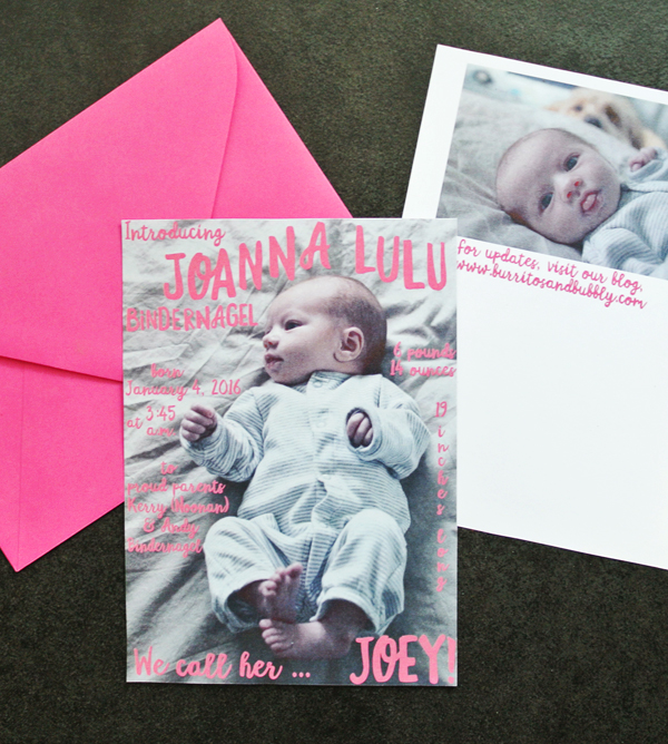 Joey Lulu's birth announcement
