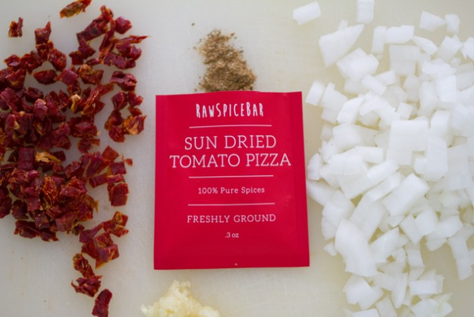 homemade sun-dried tomato pizza sauce with RawSpiceBar