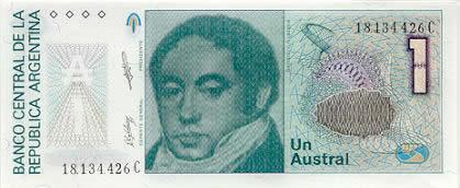 Un billete de 1 austral