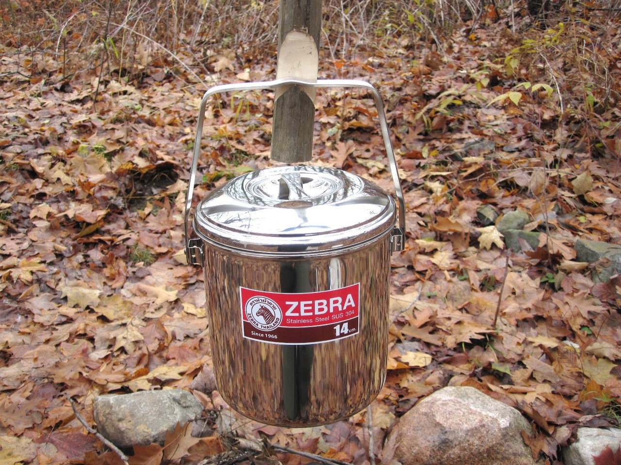 Zebra Loop Handle Pot fire