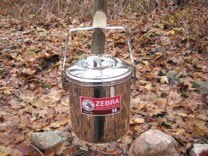 Zebra Loop Handle Pot fire