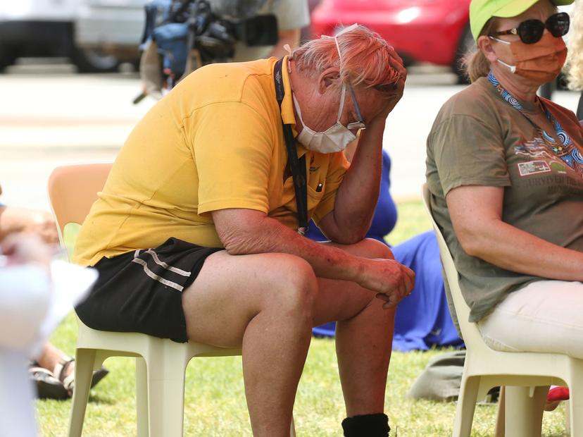 Fire victims at Brown Park Community Centre in Swan View during a community meeting. Credit: Justin Benson-Cooper/The West Australian