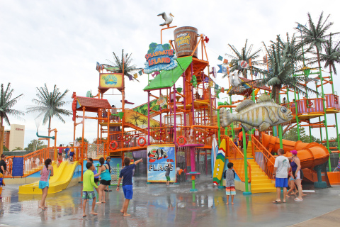 The Splashwater Island water play area inside the Six Flags Hurricane Harbor Concord water park in Concord.