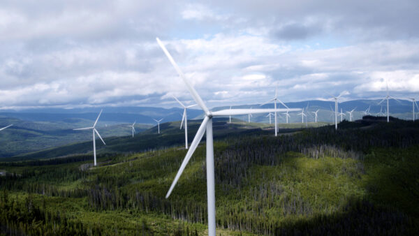 GE 3MW wind turbines at the at the Meikle wind farm, Canada.