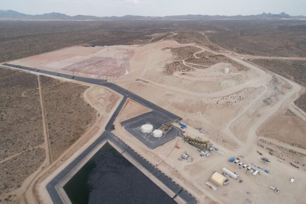 Castle Mountain Gold Mine Phase 1 heap leach pad and processing facility.