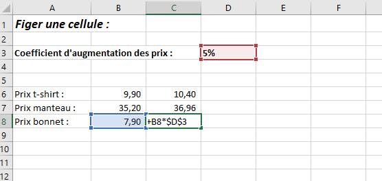 Figer une cellule Excel raccourci