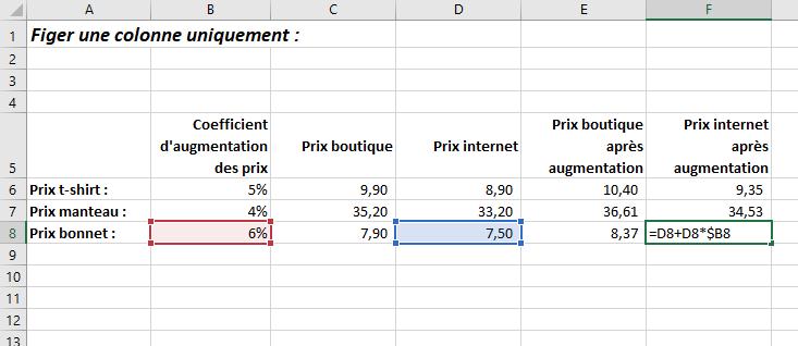 Figer une colonne Excel raccourci