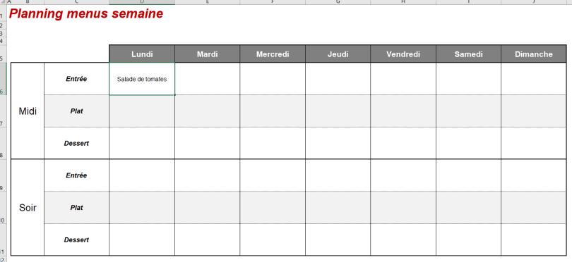 exemple planning menus semaine