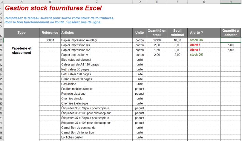 tableau excel gestion stock fournitures bureau gratuit