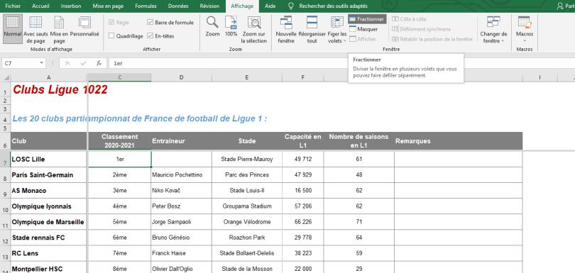 Figer une ligne Excel fractionner