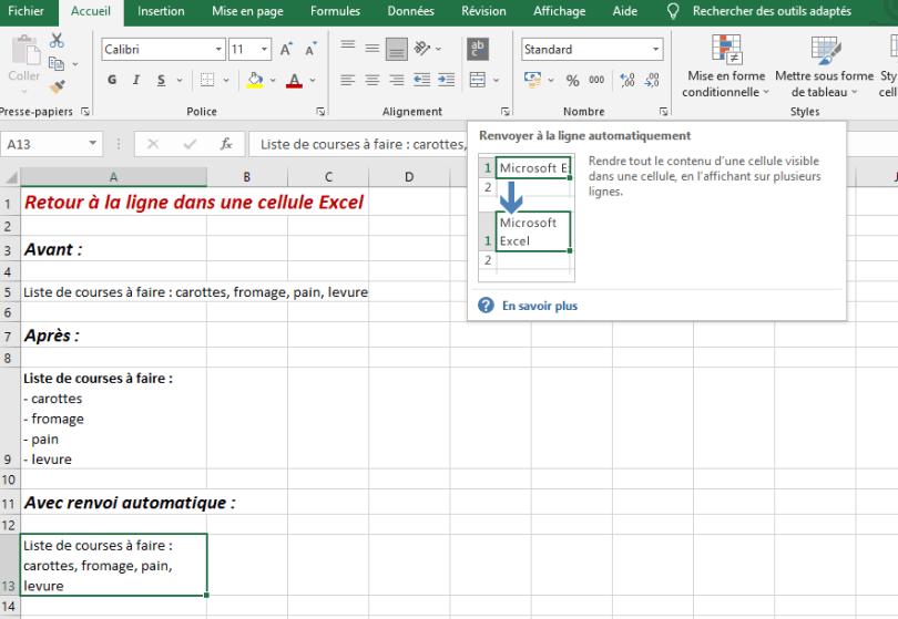 aller à la ligne Excel cellule