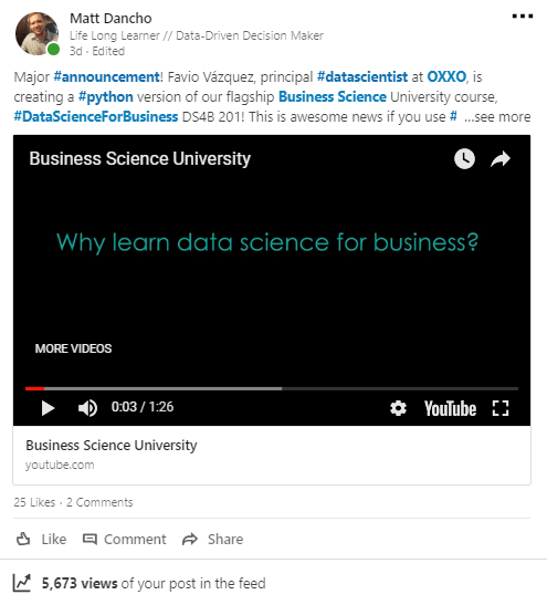 Business Science On LinkedIn
