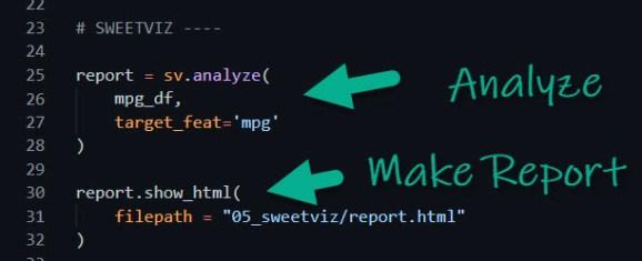 SweetViz Report Code