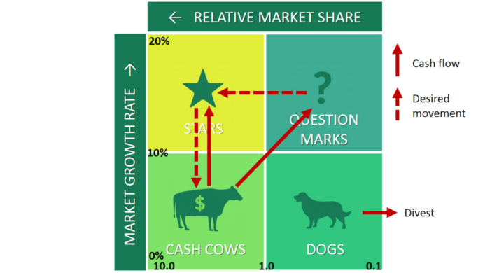 BCG Matrix Stars Question Marks Cash Cows Dogs