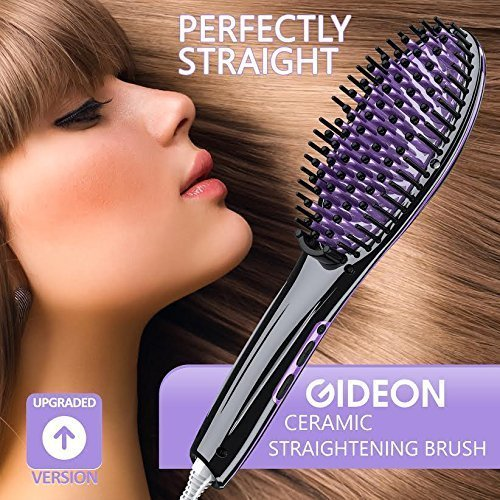 Gideon Heated Hair Brush Straightener – Innovative Hair Straightener / Get Salon Quality Straight Hair in… - Hair Straightener