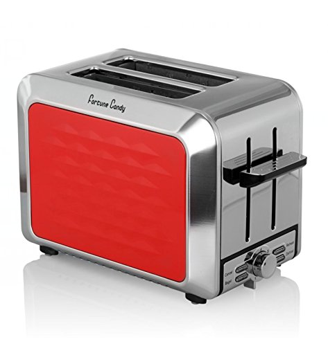 Fortune Candy Stainless Steel KST009 2 Slices Toaster with High-Lift Lever (Red) - Slice Toaster