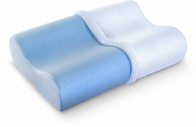 PharMeDoc Contour Memory Foam Pillow – Orthopedic Pillow for Neck Pain Infused with Cooling Gel – Includes Hypoallergenic Pillow Case -