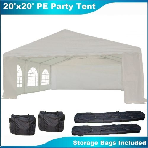 20'x20' PE Party Tent White - Heavy Duty Wedding Canopy Carport Gazebo - with Storage Bags - By DELTA Canopies - Party Tents