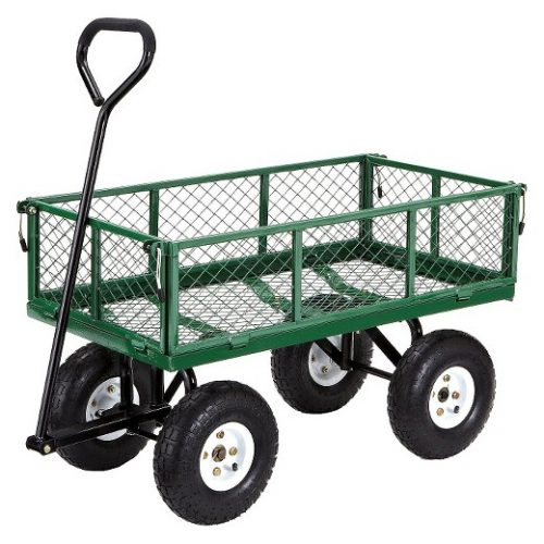 Gorilla Carts Steel Garden Cart with Removable Sides with a Capacity of 400 lb, Green-Garden Carts