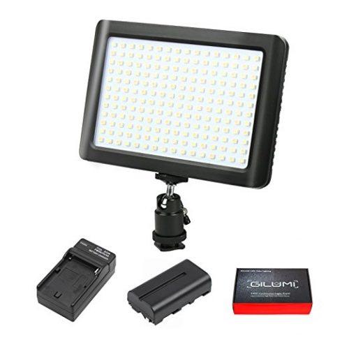 LED Video Light, GILUMI 192pcs Ultra Thin Dimmable High Power Panel Lamp on Camera Video Light - On-Camera LED Lights
