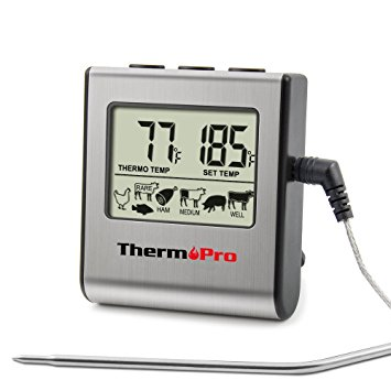 ThermoPro TP16 Large LCD Digital Cooking Food Meat Thermometer for Smoker Oven Kitchen BBQ Grill Thermometer Clock Timer - meat thermometer