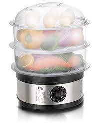 Elite Platinum EST-2301 Maxi-Matic BPA-Free 8.5 Quart 3-Tier Food Steamer, Stainless Steel - Electric Food Steamers