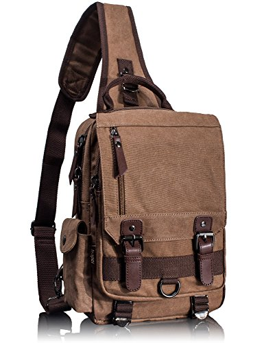 Mygreen Canvas Cross Body Messenger Bag Shoulder Sling Backpack Travel Rucksack - Single Strap Backpack