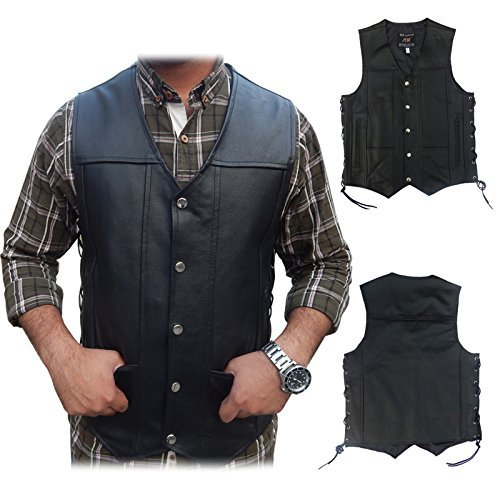 2Fit Men's Black Genuine Leather 10 Pockets Motorcycle Biker Vest - Motorcycle Vest for Men