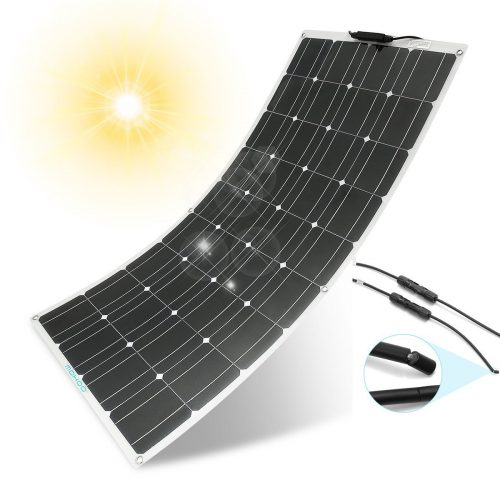 MOHOO 100W 18V 12V Ultra Thin Flexible Lightweight Cells Solar with MC4 Connector for RV Boat Cabin Tent Car - Monocrystalline Solar Panels
