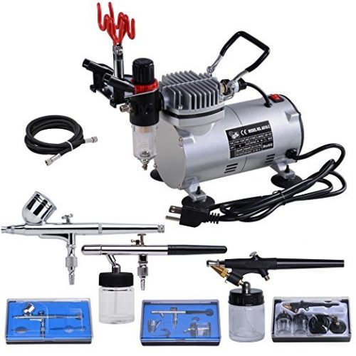 AW 3 Multi-purpose Professional Airbrush Kit Compressor Dual-action Spray Air Brush Set Tattoo Nail Art - Airbrush Compressors