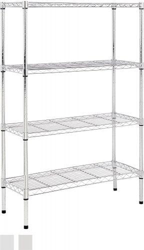 AmazonBasics 4-Shelf Shelving Unit – Chrome - collapsible storage rack